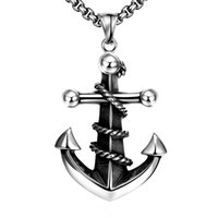 Wholesale Boat Slides - Charming Boys Fashion Retro Stainless Steel Boat Anchor Pendant Necklace Black Chain Men's Day Valentine's Day Fashion Retro Jewelry