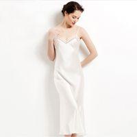 Wholesale Long Sexy Nighties - Wholesale- 100% pure silk long nightgowns women Sexy sleepwear Home dresses SILK nightdress SATIN nightie Summer style dress White Black