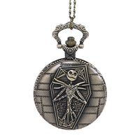Wholesale Cool Pocket Watches - Antique Cool Bronze Skeleton Pocket Watches head necklace watches Bone Quartz Fob Watch With Chain Men Women Punk jewelry Christmas Gifts