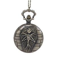 jóias de natal antigo venda por atacado-Antique Cool Bronze Esqueleto Relógios de Bolso cabeça colar relógios de Quartzo Fob Relógio Com Cadeia Homens Mulheres Do Punk jóias presentes de Natal