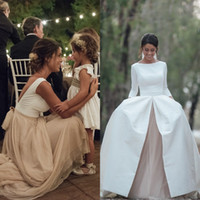 Wholesale Satin Detachable Wedding - 2017 Country Wedding Dresses with Detachable Skrit Bateau Neck A Line Long Sleeves White Satin Champagne Chiffon Vintage Wedding Gowns Line