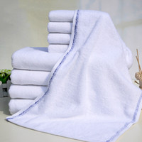 Wholesale Wholesales Towels - Pure Cotton Woven Bath Towel Hotel Guest House Exclusive Use White Color Yellow Blue Sided Towel Absorbent Bathroom Towels 30*65Cm 88G