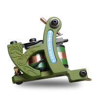 Wholesale green cast iron - Coil machine shader gun 12 wraps coil green frame high quality WQ4455 cast iron machine best price