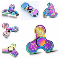 Wholesale Toy Magic Windmill - UFO Tri Hand Spinners EDC Hand Fidget Spinner Fingertip Gyro Magic Anti-Anxiety Anxiety Toy Windmill Metal Aluminum Tornado Rainbow Chromed