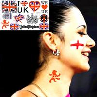 Wholesale Uk Flag Sticker - Wholesale- 7 Style Football Fans Temporary Body Art, I Love UK Flag Designs, Flash Tattoo Sticker Keep 3-5 days Waterproof 17*10cm