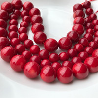 9.5mm 13.5mm Red Sea Coral Gemstone Loose Beads Round Natural Coral Stone Spacer Beads For DIY Jewelry Making Supplier