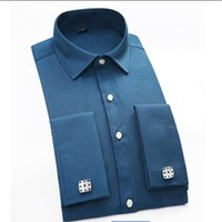 Wholesale French Cuff Clothing - Wholesale- Mens Dress Shirt French Cuff Shirt Slim with Cufflinks Men Shirt Long Sleeve Famous Brand 2017 Camisa Social Men Clothes