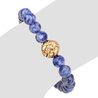 Wholesale Lapis Lazuli Gold Bracelet - Blue man bracelet new natural stone bracelets Genty pulceras mujer lion Beaded caballero Lapis lazuli strands jewelry