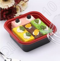 Wholesale 2 Colors Disposable Dinnerware Square PP Meal Container Salad Cake Storage Container Microwave Dishwasher Safe CCA5598 SET
