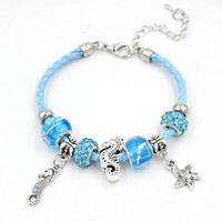 Wholesale Starfish Christmas Lights - New Arrival Lampwork Bead Bracelet Light Blue Leather Rope with Sealife Starfish Sea Horse Charm Bracelets for Women Jewelry Gift Pulsera