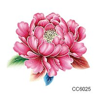 Wholesale Cheapest Tattoo - Wholesale-CC6025 6X6cm Little Cheapest Color Flower Peony Designer Temporary Tattoo Sticker Body Art Water Transfer Fake Taty for Face