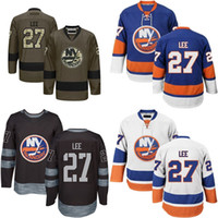 Wholesale New Full Size Black Jersey - 2016 New MENS New York Islanders 27 Anders Lee Hockey Jersey Blue White Black Green 100% Embroidery logo Authentic uniforms Size M-3XL
