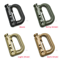 Wholesale Plastic D Rings - 10pcs lot Molle Tactical Backpack EDC Shackle Carabiner Snap D-Ring Clip KeyRing Locking