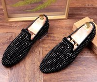 Homens Designer Trendsetter Trendy Rhinestone Rivet charmoso sapatos casuais Masculino Homecoming Dress Wedding Prom Sapato Social