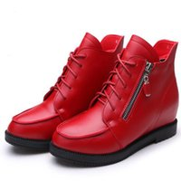 Wholesale Womens Size Cloths - Hot sale womens PU short boots girls increased within red black Martin boots lace-up zipper leather waterproof ankle boots size 34-40