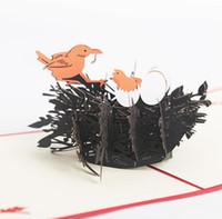 origami zum geburtstag großhandel-10 stücke Hohle Vogelnest Handgemachte Kirigami Origami 3D Pop UP Grußkarten Für Hochzeit Geburtstagsfeier Geschenk