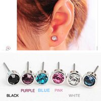 Wholesale Earring Strings - ES0003 Hot Selling New Fashion Cute Little Simple Crystal Stud Earrings STRING For Women Cheap Jewelry Accessories Wholesale