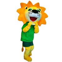 sarı aslan maskot kostüm toptan satış-Aslan maskot kostüm EMS ücretsiz kargo, yüksek kaliteli karnaval parti Fantezi peluş sarı aslan maskot yetişkin boyutu yürüyüş.