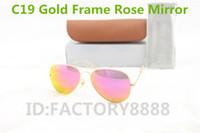 rosengläser großhandel-1 stücke Hohe Qualität Männer Frauen Designer Pilot Sonnenbrille Sonnenbrille Gold Flash Rose Spiegelglas Linsen 58mm 62mm UV400 Schutz Box fällen