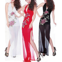 Wholesale adult gowns resale online - 1pc Sexy Costumes Erotic Porn Lingerie Sleepwear Adult Lingerie Deep V charming Lace Underwear Babydoll Dressing Gowns For Women