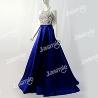 Wholesale Prom Halter Ballgowns - Real Photos Hand Make Crystal Beading Formal Evening Dresses Ballgown Halter Backless Party Dresses Many Colors With Side Pockets Prom Gowns
