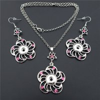 WhitePink Mix Fashion Rhinestone Flower Noosa Chunks Metal Ginger 12mm Snap Buttons Necklace Earrings Jewelry Set для женщин оптом