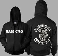 Wholesale Women S Sweaters Hoods - Men's casual Slim long-sleeved shirt kanye west cardigan zipper hood SOAS Sons of annrcy cashmere men and women couples sweater samcro