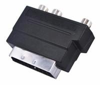 rca tv s video venda por atacado-HOT Eletrônica Vídeo RGB Scart para Composto 3 RCA S-Video AV TV Conversor Adaptador De Áudio Scart para RCA