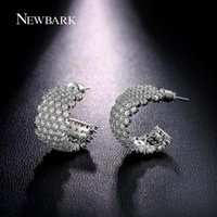 Atacado- NEWBARK Letter Double C-shaped Hoop Earrings For Women Cristalos Zircon Fulled Pendientes Wedding Party Jóias Silver Color