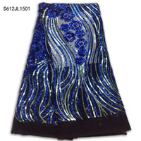 Wholesale Charm Sequin Fabric - Wholesale latest africa sequins lace fabric  high quality charming french tulle net lace swiss fashion lace Free Shipping bress D612JL15