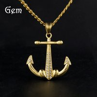 2017 Hot Sale Hip Hop Anchor Pingente Colares para Masculino Gold Plated Stainless Steel Chains Luxury Party Jewelry Wholesale