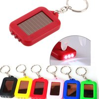Wholesale Solar Powered Light Key Chains - Mini Solar light Flashlight ABS 3 Leds Solar Panel Sun Power Energy Camping Light Portable Key Chain Hiking Rechargeable Spotlight Lamp