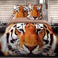 Wholesale Leopard Print Flower Comforter - animal Tiger, lion, leopard, flower 3d 4 pcs bedding set bedclothes sets bedding set sheet quilt cover duvet cover Pillowcase Home Textiles