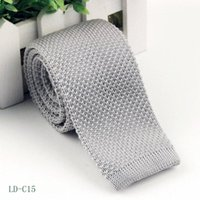 Wholesale Men S Slim Tie - 2017 21color New arrival Men s Fashion Solid 6CM Knitted Tie Pure Color Necktie Narrow Slim Woven 11-20