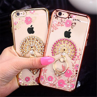Wholesale Iphone Peacock - Luxury Bling Peacock Diamond Ring Holder Case Crystal Flexible TPU Cover With Kickstand For Samsung S4 S5 S6 edge Plus Note 3 4 5