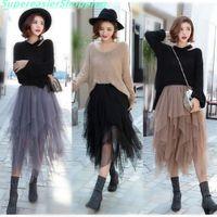 Wholesale Long Skirts Asymmetric - 3 Colors Women Tulle Tutu Skirt Ball Gown Long Pleated Skirts Women Mid-Calf Summer Party Asymmetric Midi Skirt Free Size BQ7219