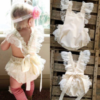 Wholesale Cartoon Animal Cotton Baby Rompers - Baby girl INS flower cotton lace bowknot rompers 2017 new Children ins cartoon Sleeveless sling rompers B001