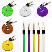 Cavo dell'audio di 3.5mm colorato intrecciato Noodle piatto ausiliario Aux cavo maschio a maschio Car Audio Stereo legare del cavo per Iphone Ipod Samsung MP3