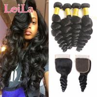 Wholesale hair bundles closures 5pcs resale online - Virgin Hair Bundles with closure g A Unprocessed Human Hair Weaves Indian Loose Wave Virgin Hair Wefts Natural Black