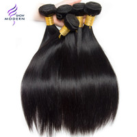 Wholesale One Piece Black Hair Extensions - Modern Show Hair Brazilian Straight Human Hair Bundles Natural Black Color 1B Can be Dyed One Bundle Brazilian Virgin Hair Weave Extensions