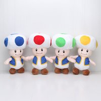 Wholesale Toad Doll - 40cm Super Mario Bros Mushroom Toad 4 Colors super mario Plush Toy stuffed Doll kids toys