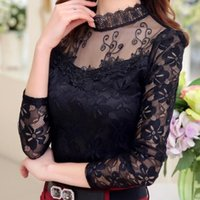 Wholesale White Puff Sleeve Blouse Chiffon - Plus Size Autumn Winter Women's Sexy Lace Chiffon Blouses Shirts Ladies Long Sleeve White Black Blusas Tops Femme 2016 New