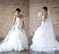 Wholesale Custome Made Sexy Wedding Dresses - NEW 2016 Hot Wholesale Custome Made Wedding dresses Mermaid dresses bride dress trailing Sexy Pearl Organza Sweetheart Bridal Wedding Dress