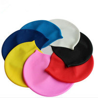 Wholesale Silicone Swim Caps Wholesale - Silicone Swimming Caps For Adult New 2016 Solid Color Swimming Caps For Men And Women With OPP Package fast shipping