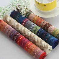 Wholesale Placemat Cotton Fabric - Wholesale- 2pcs 45cm*30cm pure stripe cotton placemat table mat fabric pad coasters pads dining table mat 1668ZD