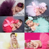 Wholesale Mexican Headbands Flower - 7 colors Baby Girl Tulle Tutu Skirt and Flower Headband Set lace pearl headbands for newborn Photography Props bebe Birthday Gift party 2017