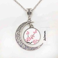 Wholesale Pink Rose Cabochon - fashion trendy Rose flower motif pink moon necklaces and pendants glass cabochon statement necklace women jewelry accessoriesP11