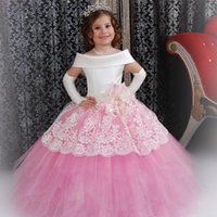 Wholesale Girls Pink Puffy Dresses - Custom Made White Satin Pink Puffy Toddler Ball Gown Girls Frock Designs Abiti Da Comunione Vintage Lace Flower Girl Dresses