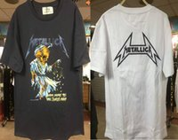 Wholesale Oversized Letters - 2017 TOP NEW fashion metallica oversized hip hop men t shirt justin bieber fear of god hiphop Cotton Tee white black S-XL