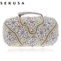 New Arrival Women Evening Bags Cadeia Shoulder Messenger Bag Beaded Rhinestones Bolsas com Handle Dia Clutches Para Casamento